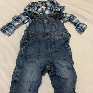 Oshkosh b'gosh long sleeve with matching overalls